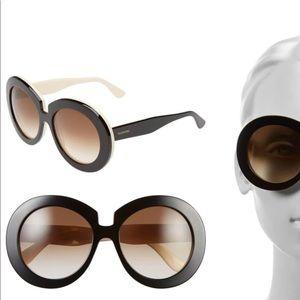 VALENTINO Brown oversized round sunglasses